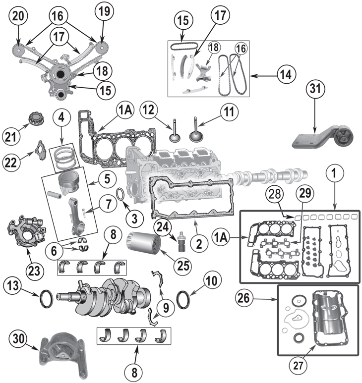 2002-2012 Daimler-Chrysler Jeep 3.7L 6 Cylinder Engine Replacement in 2002 Jeep Liberty Engine Diagram