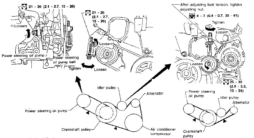 2002 Nissan Maxima: A Diagram And How To Install Both Belts..pulleys inside 2002 Nissan Maxima Engine Diagram