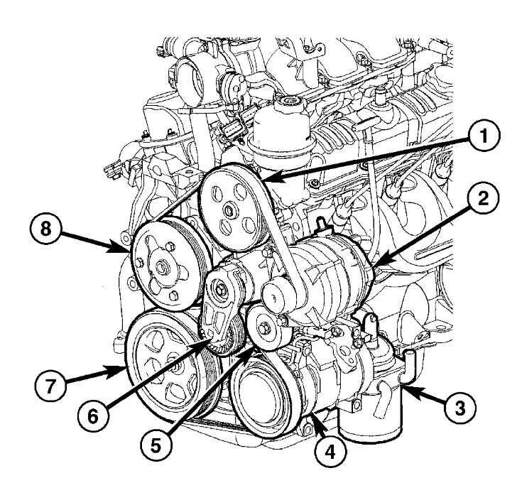 2005 Chrysler Pacifica V6 3.8L Serpentine Belt Diagram with 2006 Chrysler Pacifica Engine Diagram