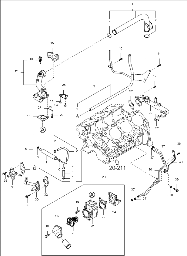 2563039800 - Genuine Kia Fitting Water I with regard to 2003 Kia Sorento Engine Diagram