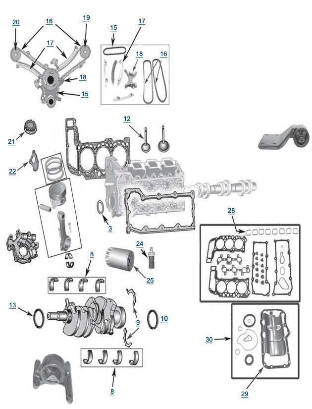 3.7L Engine Parts - 4 Wheel Parts for 2002 Jeep Liberty Engine Diagram