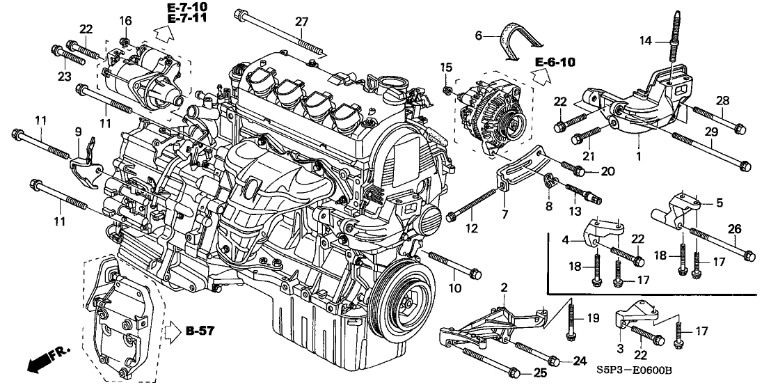 31110-Pla-E02 - Genuine Honda Belt, Alternator (Mitsuboshi) with 2003 Honda Civic Engine Diagram