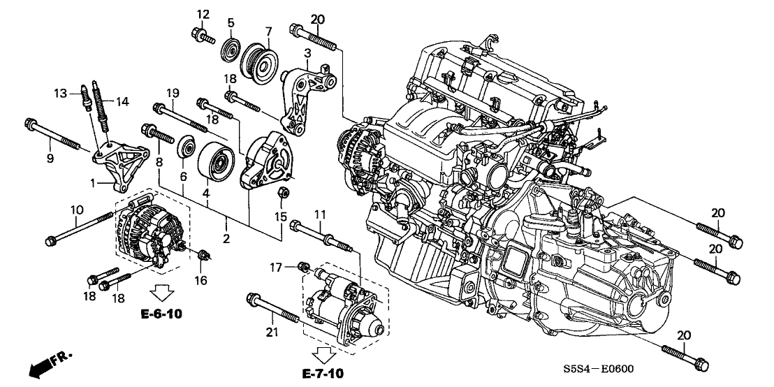 31175-Pra-000 - Genuine Honda Bracket, Idle Pulley inside 2002 Honda Civic Engine Diagram
