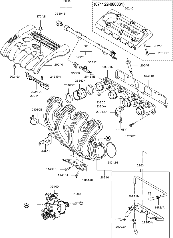 3510025400 - Genuine Kia Body Assy-Throt throughout 2006 Kia Optima Engine Diagram