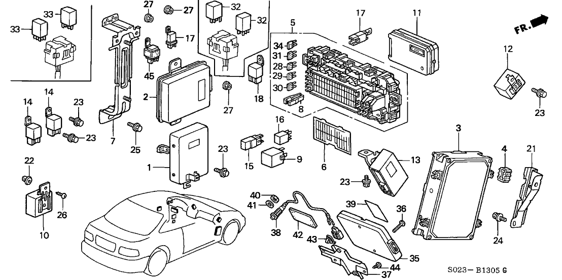 37820-P2E-A92 - Genuine Honda Control Module, Engine intended for 1999 Honda Civic Engine Diagram