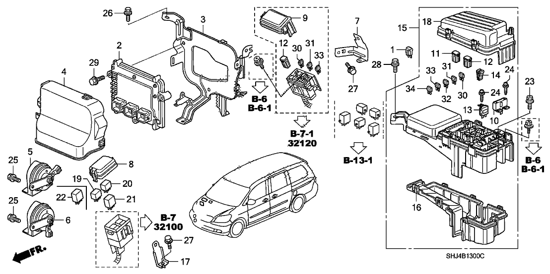 38100-Shj-A02 - Genuine Honda Horn Assy. (Low) throughout 2006 Honda Odyssey Engine Diagram