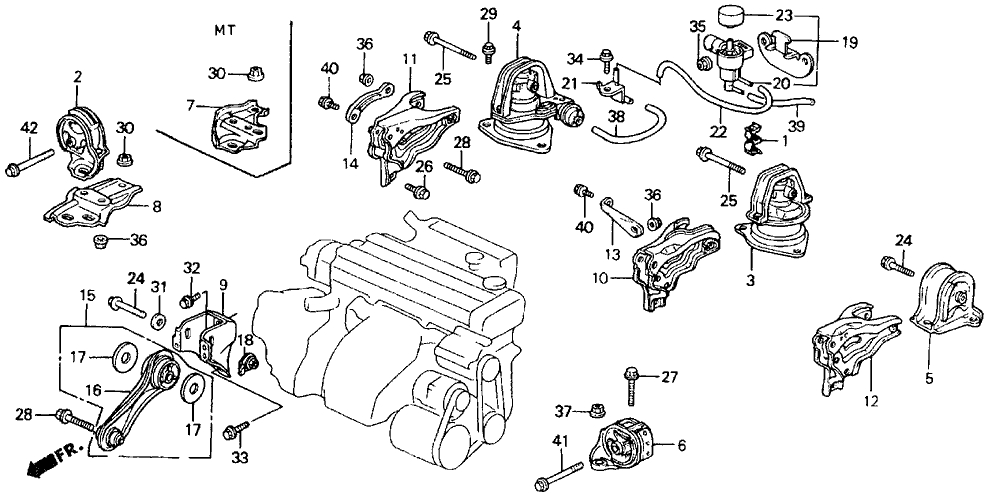 50810-Sv4-J82 - Genuine Honda Rubber, Rr. Engine Insulator (At) intended for 1990 Honda Accord Engine Diagram