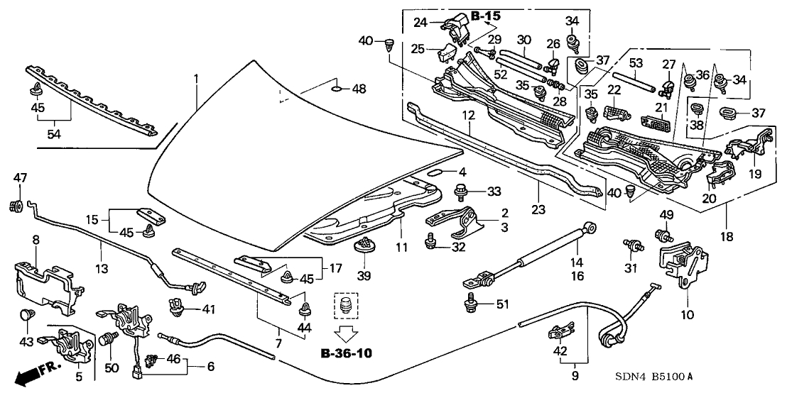 74120-Sda-A12 - Genuine Honda Lock Assy., Hood within 2003 Honda Accord Engine Diagram