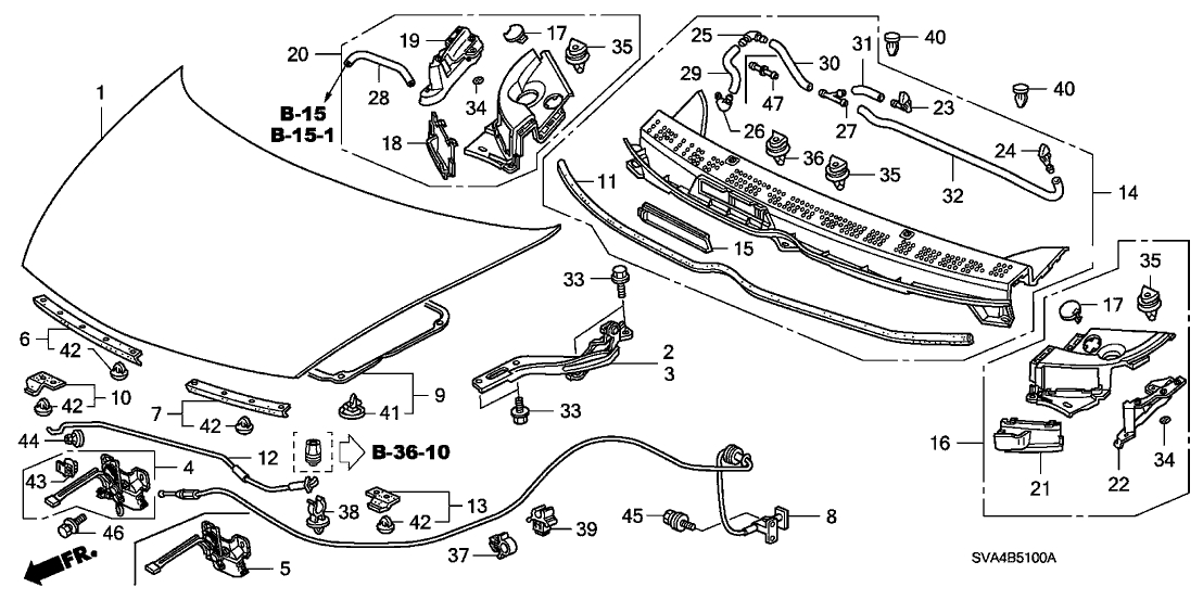 74211-Sna-A00 - Genuine Honda Cap, Cowl Top Side with regard to 2006 Honda Civic Engine Diagram