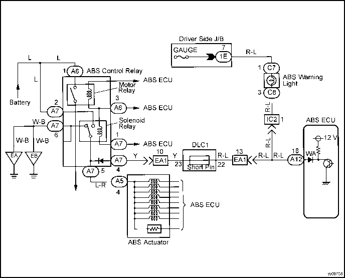 Abs Warning Light Circuit - Toyota Tercel 1996 Repair inside 1996 Toyota Tercel Engine Diagram