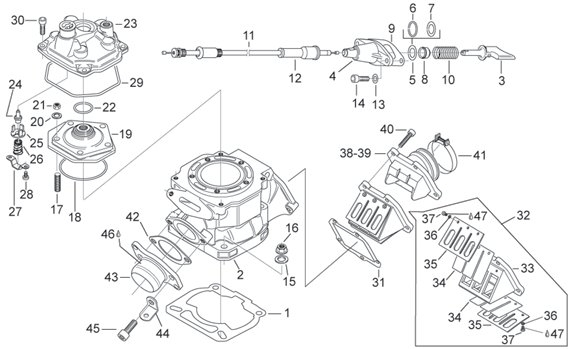 Aprilia Rs 125 1998 (Engine 123Cc) Parts Aprilia Spare Parts for Aprilia Rs 125 Engine Diagram