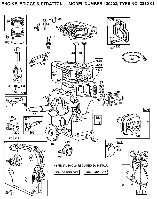 Briggs & Stratton Engine Parts | Model 130202328001 | Sears with Briggs & Stratton Engine Diagram