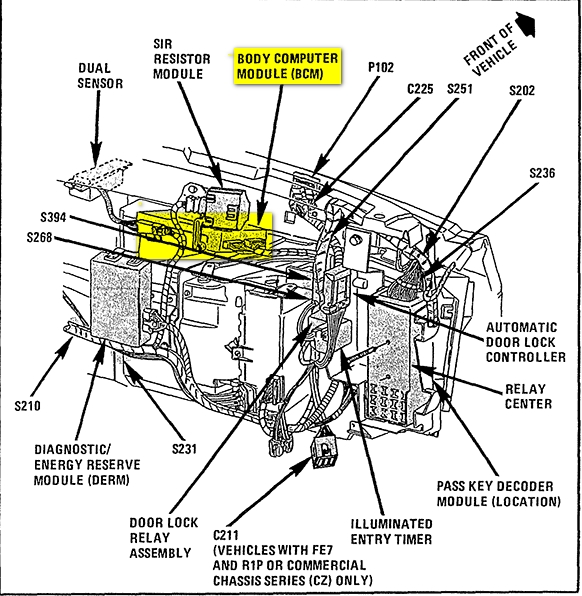 Cadillac Eldorado Questions - Where Is The Bcm Located On A 1995 for 1999 Cadillac Deville Engine Diagram