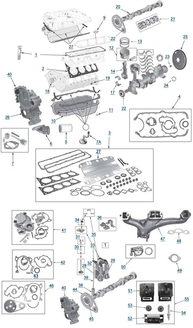 Cj And Full Size V8 Engine Parts - 4 Wheel Parts with regard to Diagram Of A V8 Engine