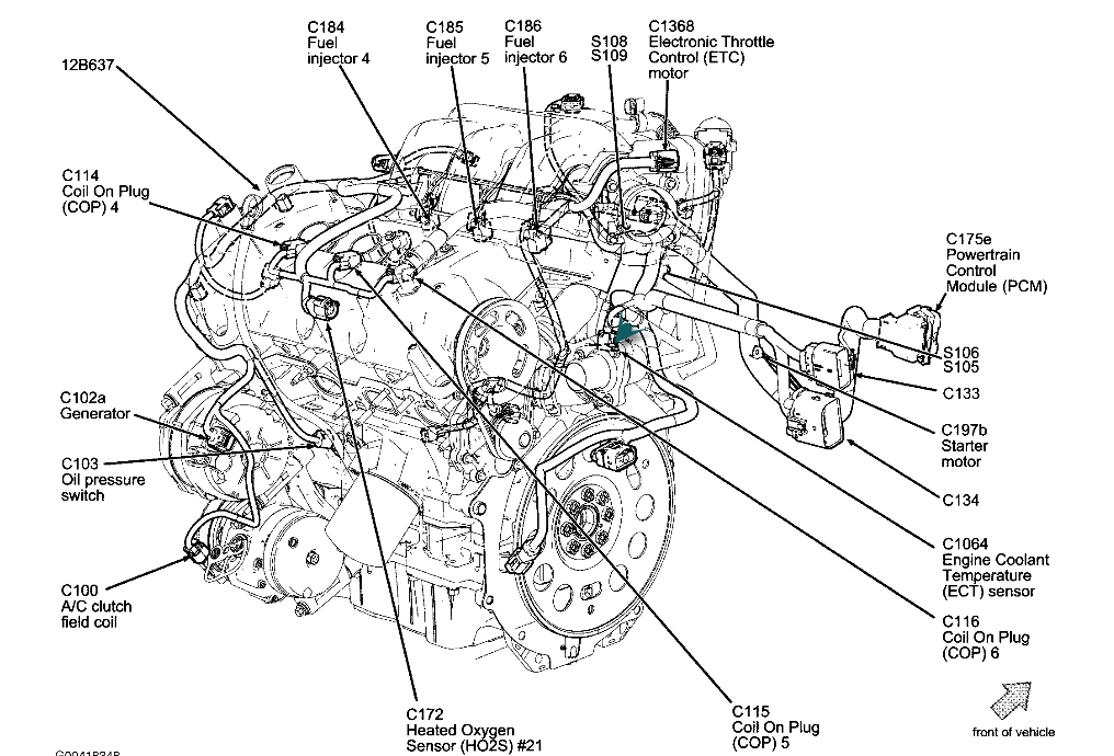 Coolant Temperature Sensor Location: Need To Know Where in 2008 Ford Fusion Engine Diagram