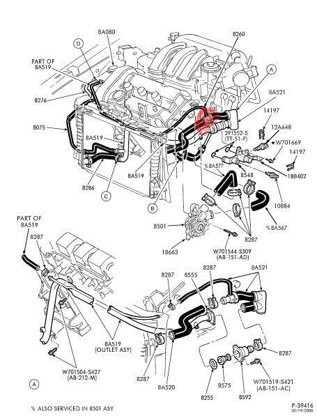 Crushed Plastic T-Joint In Coolant Hose - Taurus Car Club Of with 1998 Ford Taurus Engine Diagram