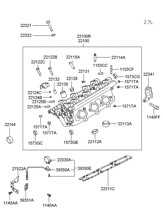 Cylinder Head For 2002 Hyundai Sonata | Hyundai Parts Deal regarding 2002 Hyundai Sonata Engine Diagram