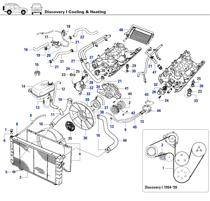 Discovery I Cooling & Heating - Rovers North - Classic Land Rover regarding 2003 Land Rover Discovery Engine Diagram