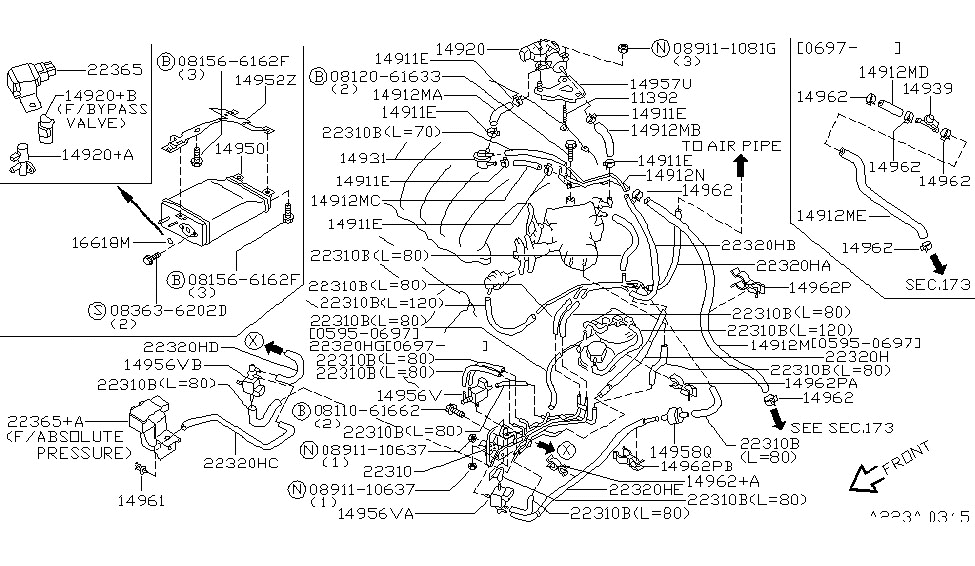 Engine Control Vacuum Piping For 1995 Nissan Maxima in 1995 Nissan Maxima Engine Diagram