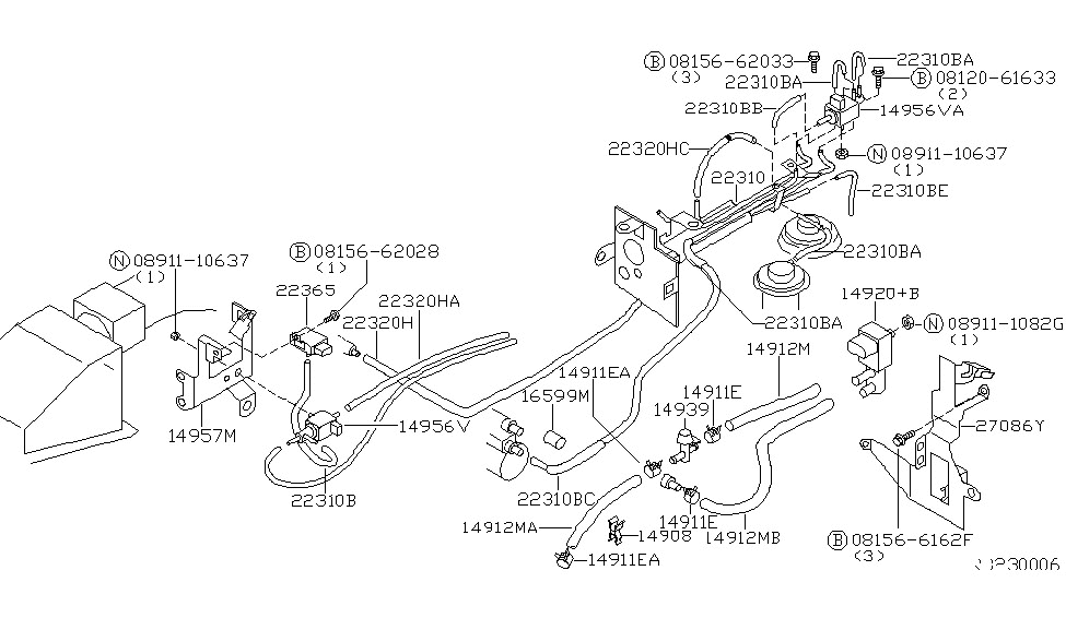 Engine Control Vacuum Piping For 2000 Nissan Altima pertaining to 2000 Nissan Altima Engine Diagram