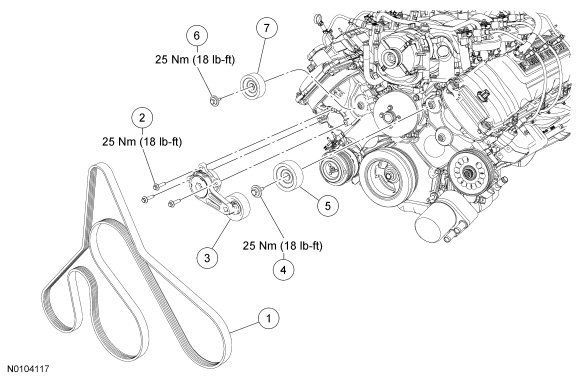Ford F150 & F250 How To Replace Idler And Tension Pulleys - Ford in Ford 5.4 L Engine Diagram