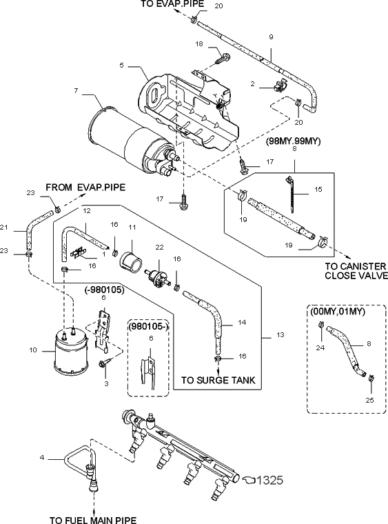 Fuel System For 2000 Kia Sephia | Kia Parts Now inside 2000 Kia Sephia Engine Diagram