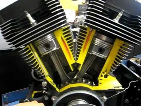 Harley Big Twin Engine Cutaway View - Youtube pertaining to Harley Davidson V Twin Engine Diagram