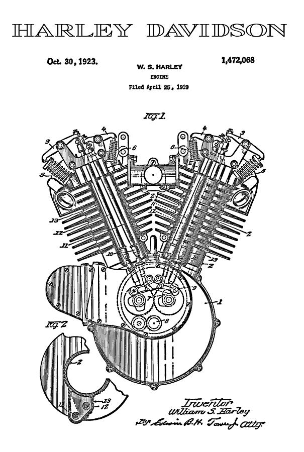 Harley Davidson V-Twin Engine Patent 3 - 1919 Digital Art within Harley Davidson V Twin Engine Diagram