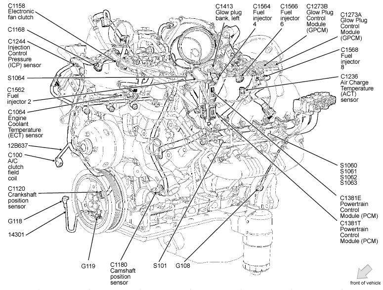 4   6    Liter    Ford    Engine       Diagram      Automotive Parts    Diagram    Images