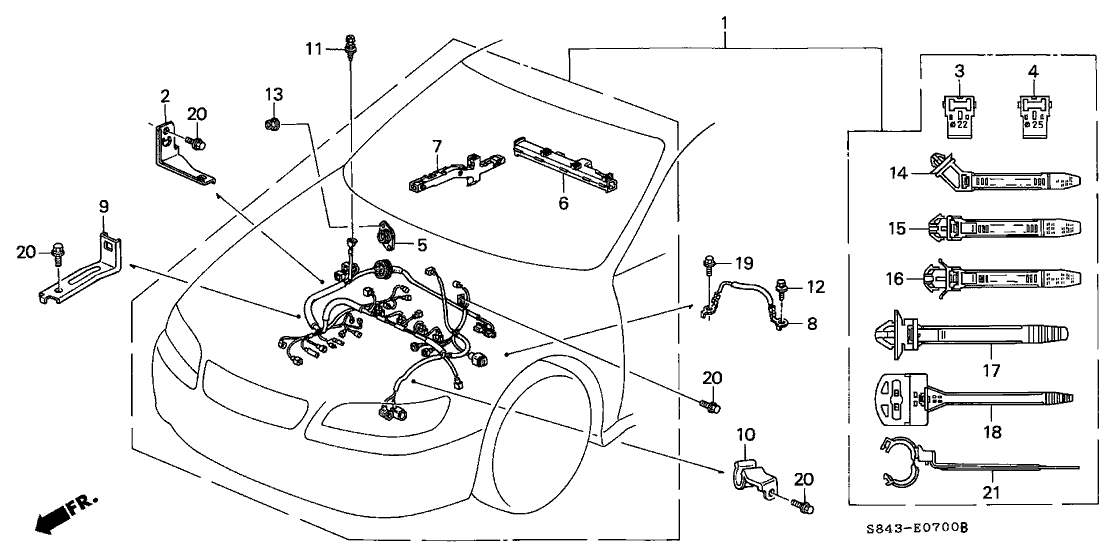 Honda Accord 4 Door Ex Ka 4At Engine Wire Harness regarding 1999 Honda Accord Engine Diagram