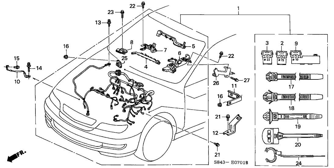 honda accord 4 door exv6 ka 4at engine wire harness  v6  inside 2000 honda accord engine diagram