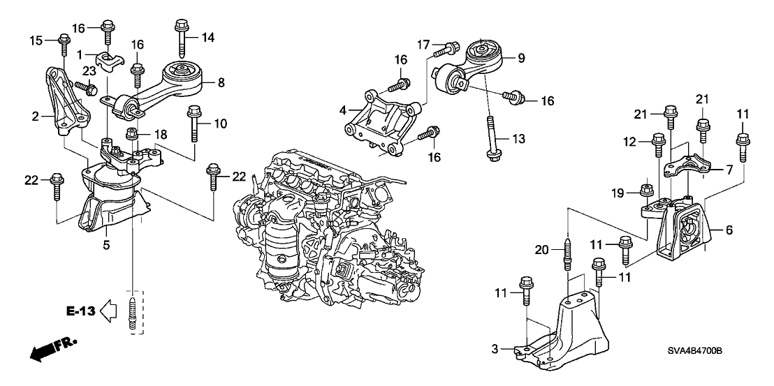 Honda Civic 2 Door Ex Ka 5Mt Engine Mounts (1.8L) throughout Diagram Of Honda Civic Engine