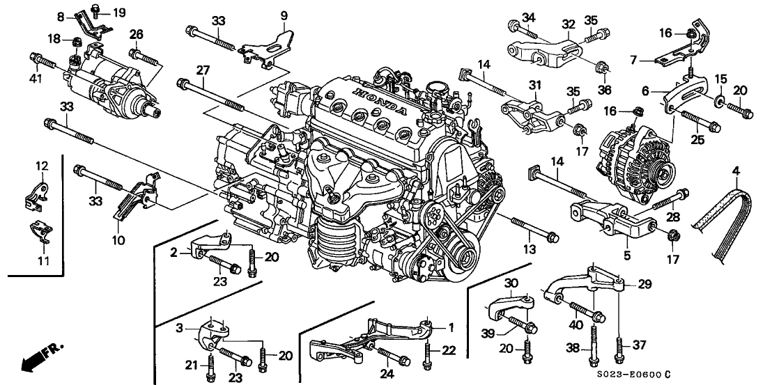 Honda Civic 2 Door Si Ka 5Mt Alternator Bracket - Engine Stiffener inside 1995 Honda Civic Engine Diagram