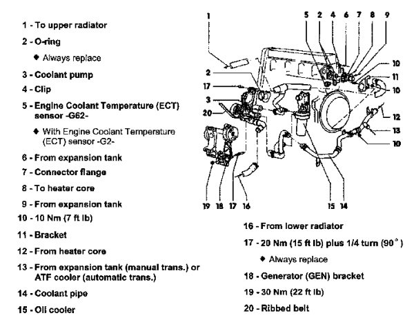 How To - 2.0 Thermostat And Coolant Flush within 1999 Vw Beetle Engine Diagram