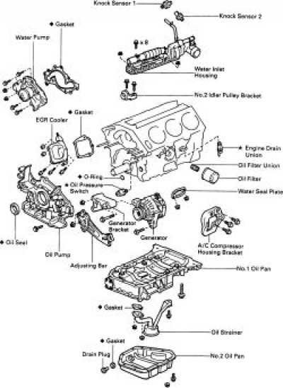 How To Replace The Oil Pan On All 1997 - 2000 Toyota Camry intended for 2000 Toyota Corolla Engine Diagram