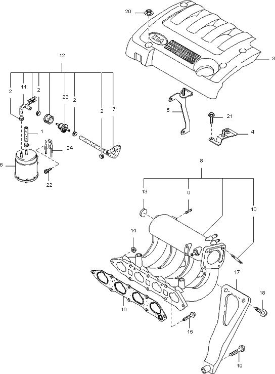 Intake Manifold For 2002 Kia Spectra Sedan (New Body Style) inside 2002 Kia Spectra Engine Diagram