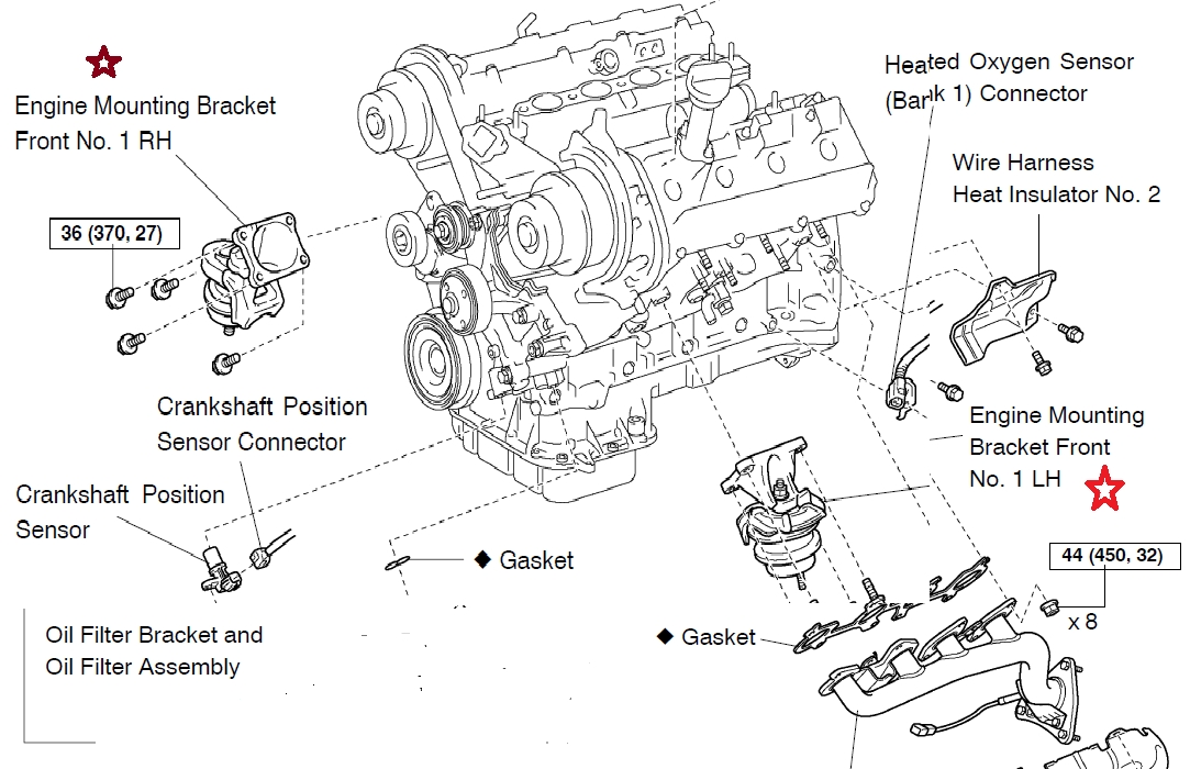 Motor Mount & Transmission Mount Location Diagram - Clublexus with 1997 Lexus Es300 Engine Diagram
