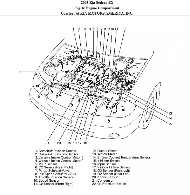 2003    Kia       Sedona    Engine    Diagram      Automotive Parts    Diagram    Images