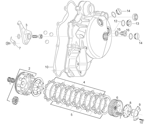 P J Motorcycle Engineers Ltd Aprilia Rs125 Clutch Parts regarding Aprilia Rs 125 Engine Diagram