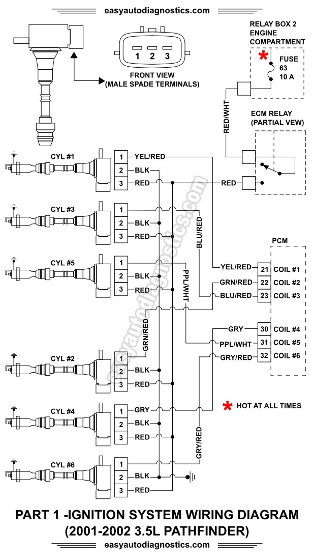 Part 1 -2001-2002 3.5L Nissan Pathfinder Ignition System Wiring regarding 2002 Nissan Pathfinder Engine Diagram