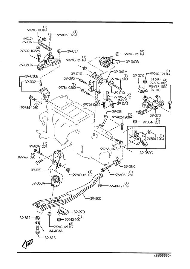 passenger side motor mount  block side broken inside 2002 mazda protege5 engine diagram
