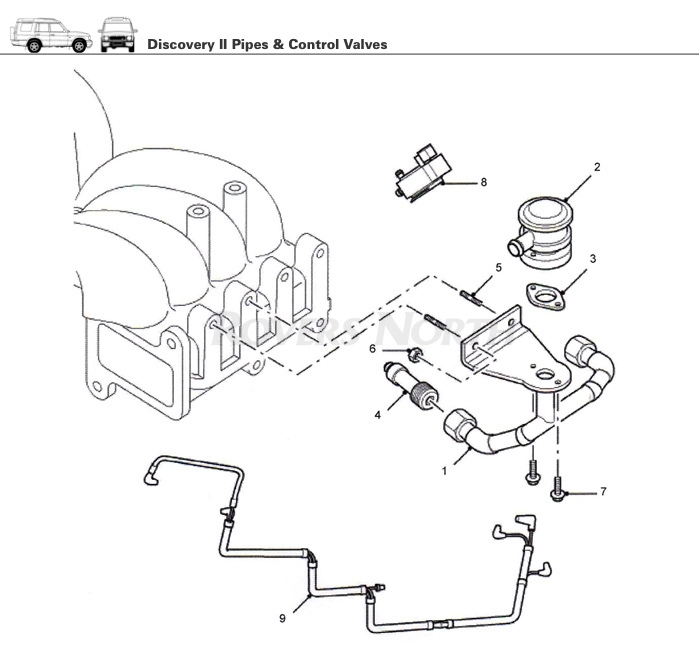 Pipes And Control Valves, Top End, Engine, Discovery Ii - Rovers inside 2003 Land Rover Discovery Engine Diagram