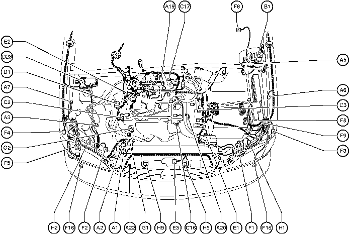 Position Of Parts In Engine Compartment - Toyota Sienna 1997-2003 with 2003 Toyota Corolla Engine Diagram