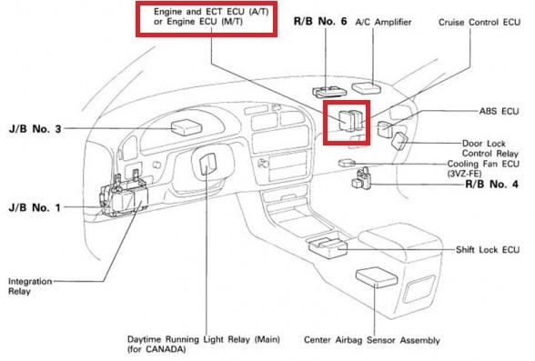 Toyota Camry Questions - Where Is The Ecu Located In 97 Toyota pertaining to 2003 Toyota Camry Engine Diagram