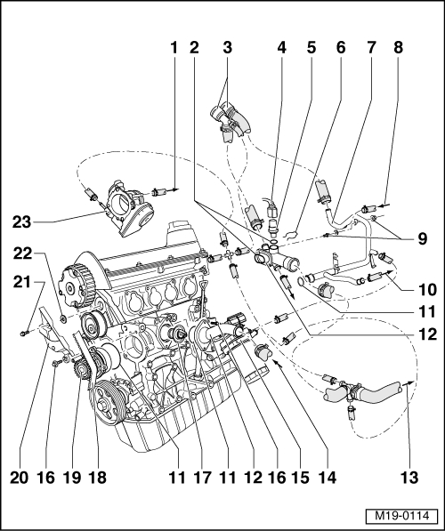 Volkswagen Workshop Manuals > Golf Mk4 > Engine > 4Cyl. Injection with regard to Vw Golf Mk4 Engine Diagram