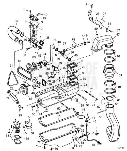 Volvo Penta Exploded View / Schematic Exhaust, Cooling And Oil Pan with Volvo Penta Marine Engine Diagram