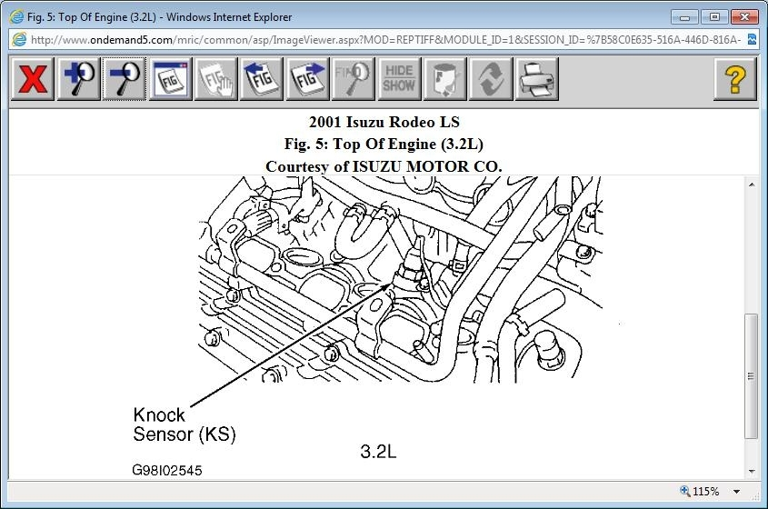 Where Is The Knock Sensor Located On The 3.2L 2001 Isuzu Rodeo? regarding 2001 Isuzu Rodeo Engine Diagram