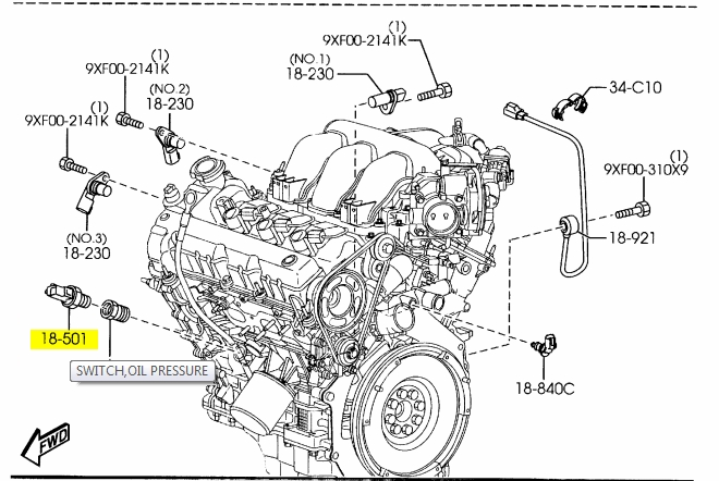 Where Is The Oil Pressure Switch? - Mazda 6 Forums : Mazda 6 Forum within 2004 Mazda 6 Engine Diagram