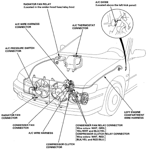 Wiring And Connectors Locations Of Honda Accord Air Conditioning intended for 2001 Honda Accord Engine Diagram