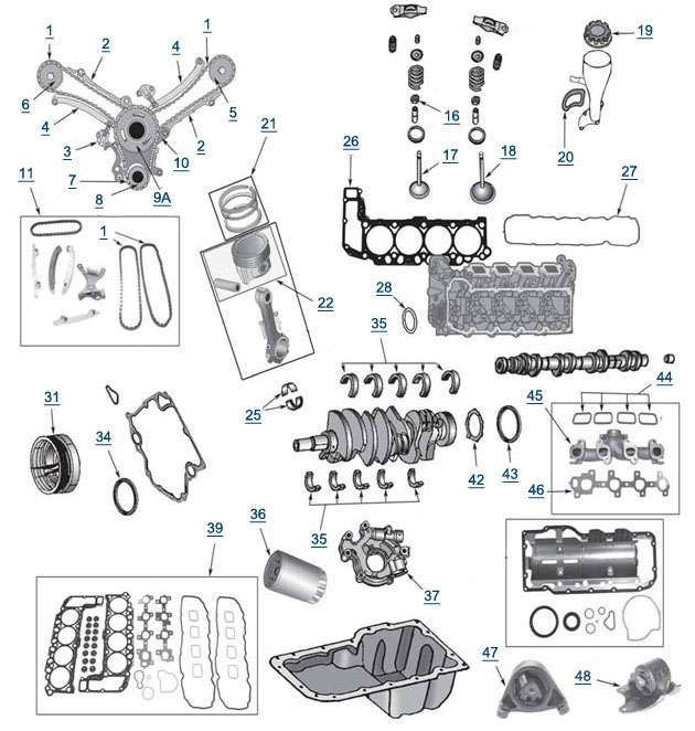 Wj Grand Cherokee 4.7L Engine Parts - 4 Wheel Parts intended for 2002 Jeep Grand Cherokee Engine Diagram